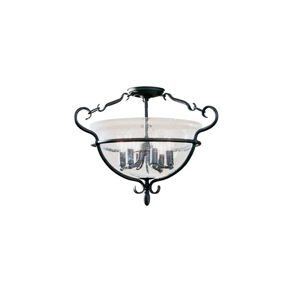 Sea Gull Lighting 7700 07 6 Light Manor House Close to Ceiling Fixture, Clear Seeded Glass and Weathered Iron