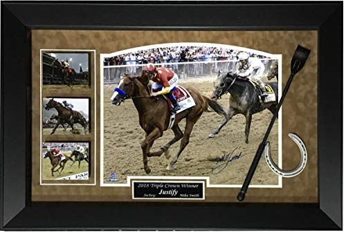 - Mike Smith Autographed Signed Justify Triple Crown Photo Horseshoe Whip Framed Auto Steiner - Certified Signature