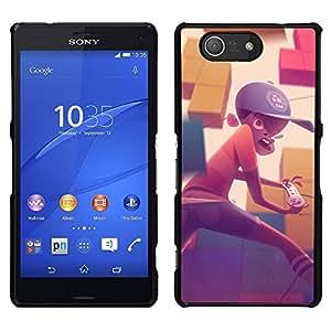 """For Sony Xperia Z3 Compact Case , Pintura Boy Gaming Computer Sombrero Arte Niño"""" - Diseño Patrón Teléfono Caso Cubierta Case Bumper Duro Protección Case Cover Funda"""