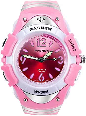 Waterproof Kids Watch for Girls Boys Time Machine Analog Watch Toddlers Watch Silicone Wristwatch Time Teacher for Little Kids Boys Girls Birthday Gift Toys (Pink)