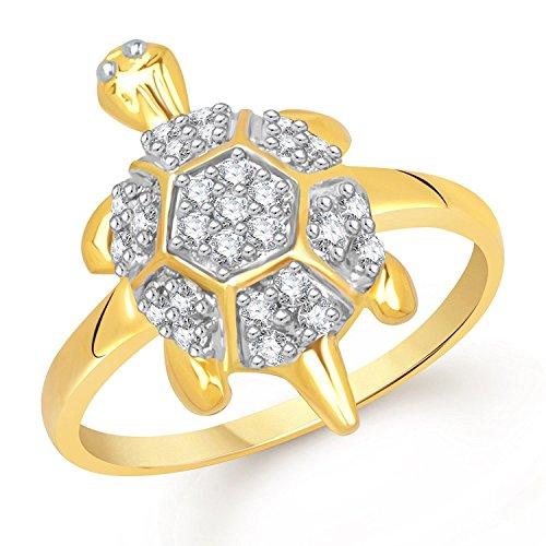 Dabangjewels Round Cut CZ White Diamond Tortoise Ring Fancy Party Wear Ring for Men & Women 14k Yellow Rhodium Plated