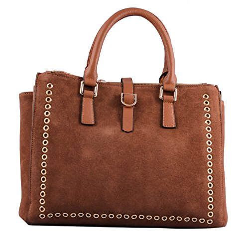 Mia Bag Shopping Leather e Suede con Occhielli