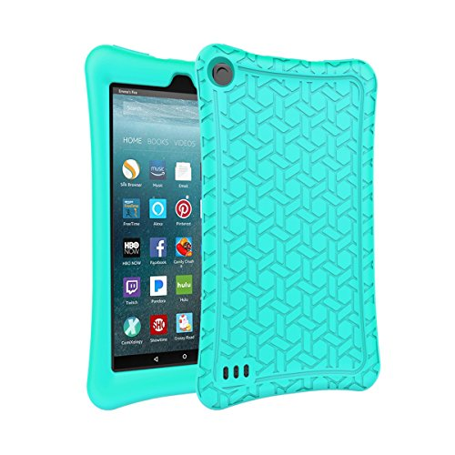 AVAWO Silicone Case for Amazon Fire 7 Tablet with Alexa (7th & 9th Generation, 2017 & 2019 Release - Anti Slip Shockproof Light Weight Slim Protective Cover, Turquoise