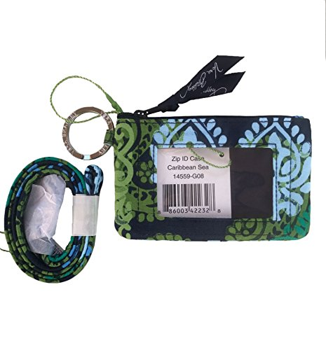 Price comparison product image Vera Bradley Solid Interior Zip Id Case and Lanyard in Caribbean Sea