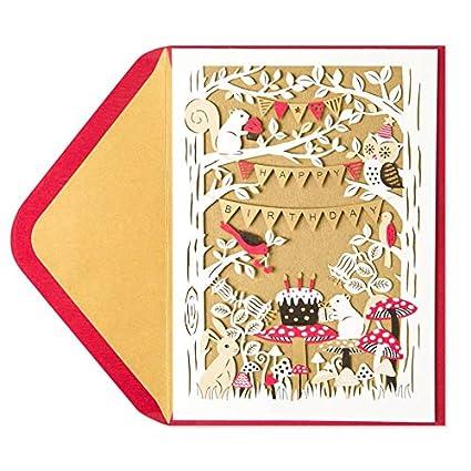 Papyrus Laser Cut Woodland Birthday Card