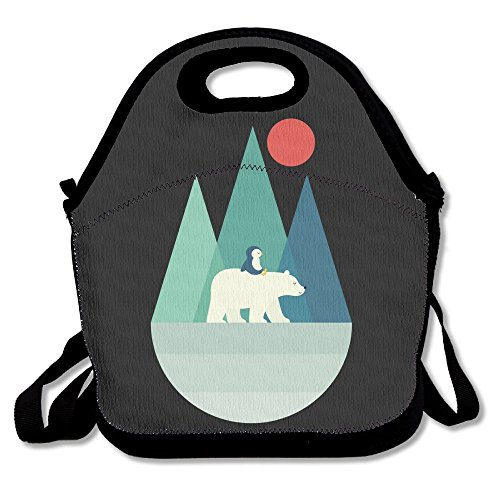 Polar Bear And Penguin Lunch Bags Insulated Travel Picnic Lunchbox Tote Handbag With Shoulder Strap For Women Teens Girls Kids (Toddler Polar Bear Costumes)