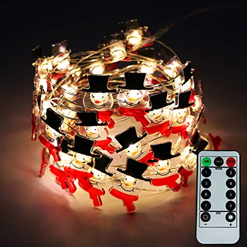 ZALALOVA Snowman String Lights, 40 LEDs 8 Modes Waterproof Snowman Lights 13.1ft Copper Wire Battery Operated with Remote Timer for Party Decoration (Warm White)
