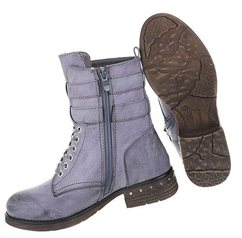 Boots Schuhe Blau Schnür Stiefeletten Damen Used Optik 0v1x0gA
