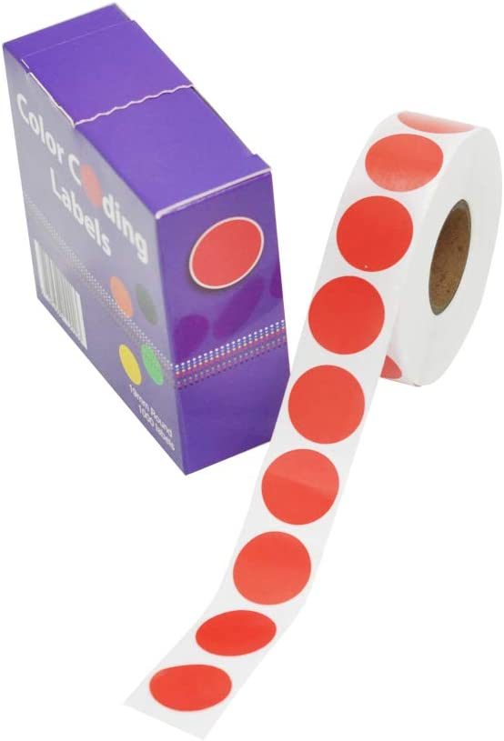 3/4 inch Color p-Code dot Tags | Permanent Glue 19mm - 1000 Stickers (red)
