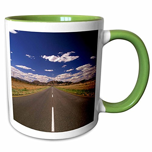 3dRose Danita Delimont - Scenic Roadways - Namibia, Rehoboth, Highway 81, Tropic of Capricorn-AF31 WBI0027 - Walter Bibikow - 11oz Two-Tone Green Mug - Rehoboth Outlets De