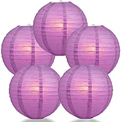"Quasimoon PaperLanternStore.com (5-Pack) 16"" Violet/Orchid Round Paper Lantern, Even Ribbing, Hanging Decoration"