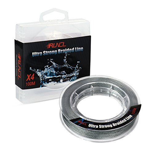 RUNCL Braided Fishing Line with 4 Strands, Ultra Strong Braided Line Zero Stretch Smaller Diameter 109Yds/100M for Freshwater Saltwater Fishing(38LB(17.3kgs))