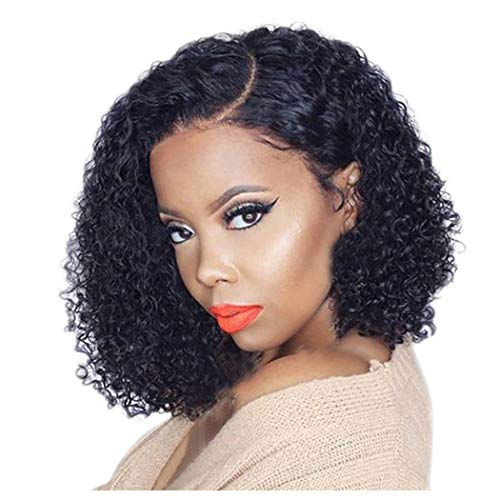 (Clearance! Afro Bob Lace Front Wig for Black Women Short Kinky Curly Human Hair Wigs Heat Resistant Synthetic Fiber Female Party Full Wigs Hairpiece (Black))