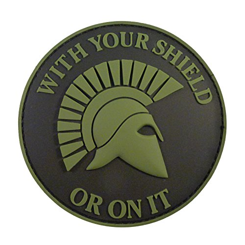 Olive Drab OD Green Spartan Helmet WITH YOUR SHIELD OR ON IT PVC 3D Rubber Hook-and-Loop Patch