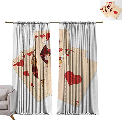 (Thermal Insulated Blackout Curtains Alice in Wonderland,Crown Gambler Queen Hearts Royal Fairy Flush Face Magic Theme,Brown Red and Ecru W96 x L84 Thermal Insulated Room Darkening Window Shade)