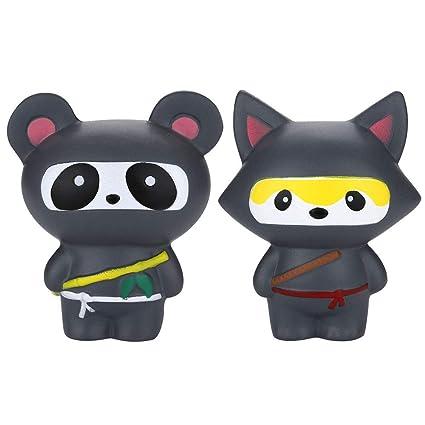 Amazon.com: Mikilon 2 Pcs Squishies Ninja Dog and Panda ...