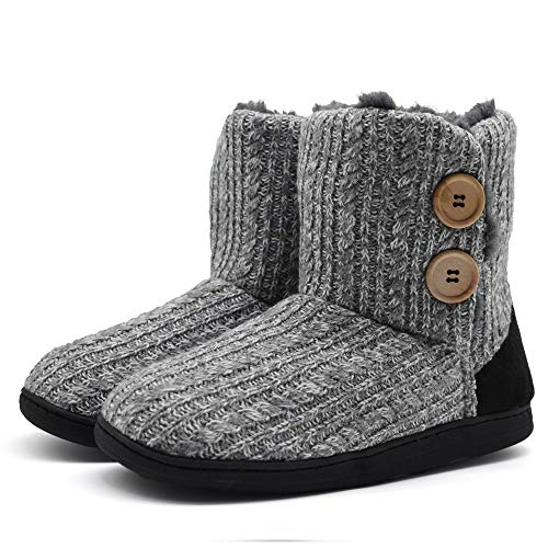 ONCAI Fluffy Faux Fur Slipper Boots Women Soft Cozy Memory Foam Midcalf Booties Indoor House Pull on Shoes (Women US M 7-8, Light-Grey)