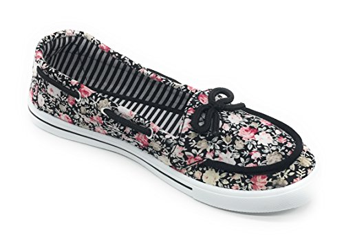 Floral Shoe Sneaker Round Rose Black Canvas Slip Easy21 Women On Boat Toe Flat Oxford O4qWpBwv