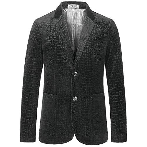 E-artist Men's Alligator Crack Pattern Velvet Blazer Large Black