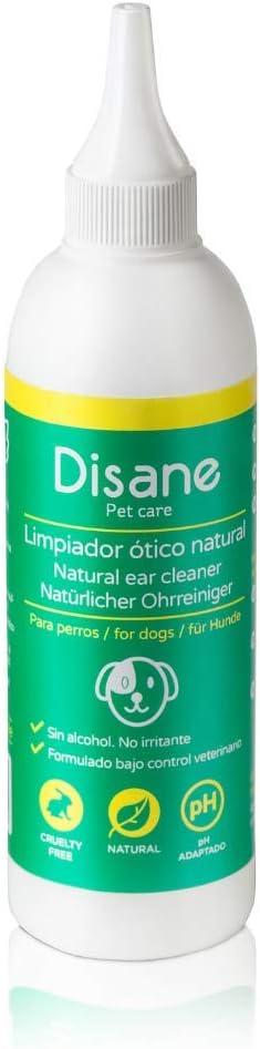 Disane Limpiador de Oídos para Perros Natural | Evita Infecciones de Oído Eliminando Acumulaciones de Suciedad, Cera y Secreciones | Formula Bajo Control Veterinario para el Cuidado Ótico del Perro