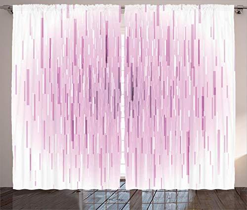 Ambesonne Magenta Decor Curtains, Trippy Falling Digital Lin