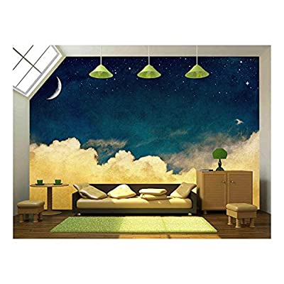 That You Will Love, Majestic Creative Design, A Fantasy Cloudscape with Stars and a Crescent Moon Overlaid with a Vintage Textured Watercolor Paper Background