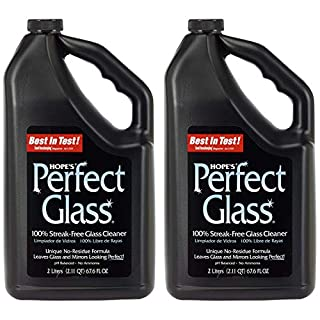 HOPE'S Perfect Streak-Free Glass Cleaner Refill, Less Wiping, No Residue, Pack of 2, 67.6 Ounce, 2 Count