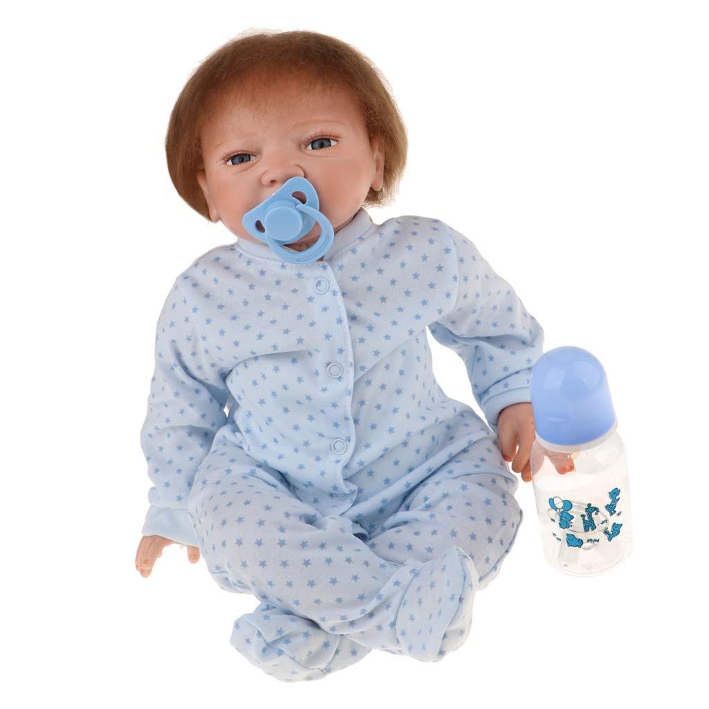 Fenteer Bella Bambola Neonato in Silicone Morbido da 20 Pollici con Vestiti - Blu