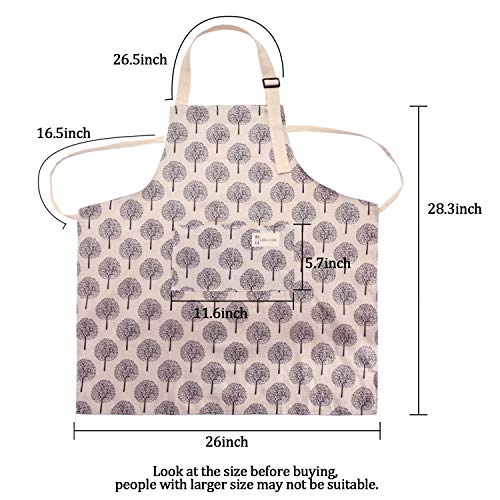 2 Pieces Cotton Linen Cooking Apron Adjustable Kitchen Apron Soft Chef Apron with Pocket for Women and Men 2