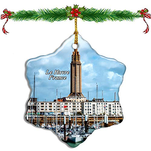 Fcheng France Le Havre Christmas Ceramic Ornament Tree Decor City Travel Souvenir Double Sided Snowflake Sublimation Porcelain Hanging Ornament