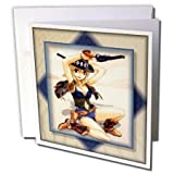 3dRose Anime Cowgirl - Greeting Cards, 6 x 6 inches, set of 12 (gc_24103_2)