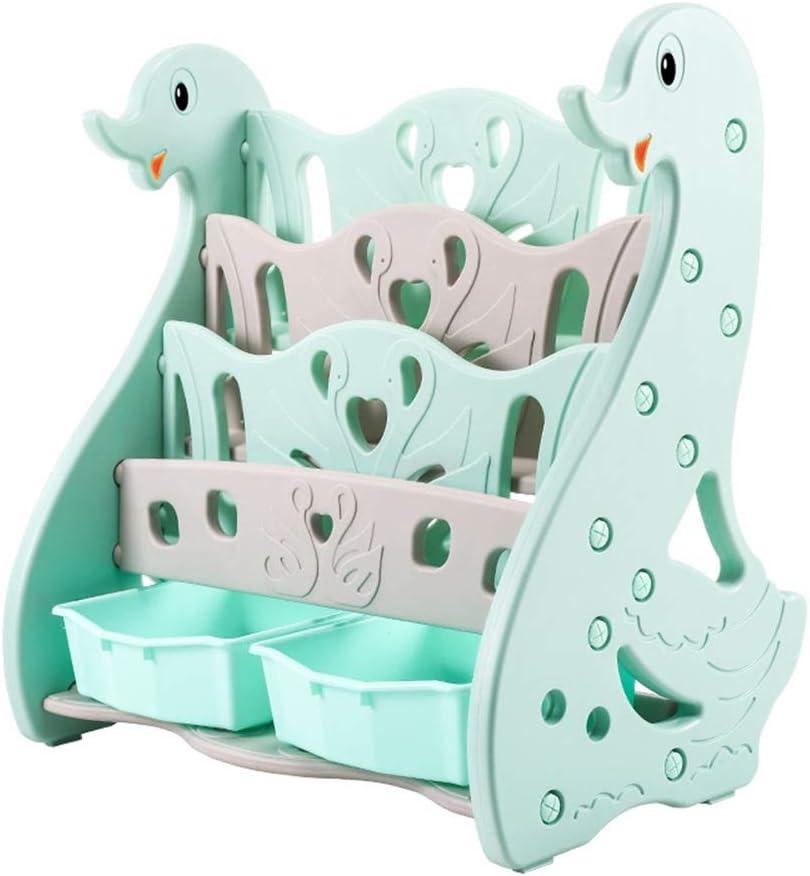 子供用おもちゃの本棚 子供のプラスチック製の小さな本棚は丈夫で耐久性のあるおもちゃ収納ラックを子供します (色 : 緑)