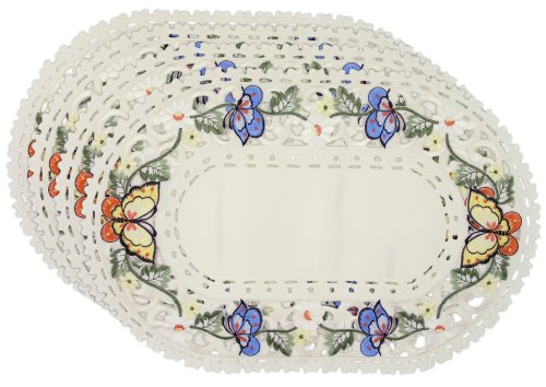 Embroidered-Multi-color-Butterfly-Placemats-Set-of-4-11x17-Oval-Shaped-Machine-Washable