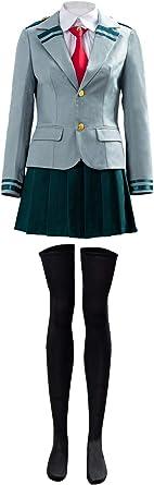 DANGANCOS Boku no Hero Academia My Hero Academia Tsuyu School Uniform Jacket Shirt Coat Skirt Cosplay Costume