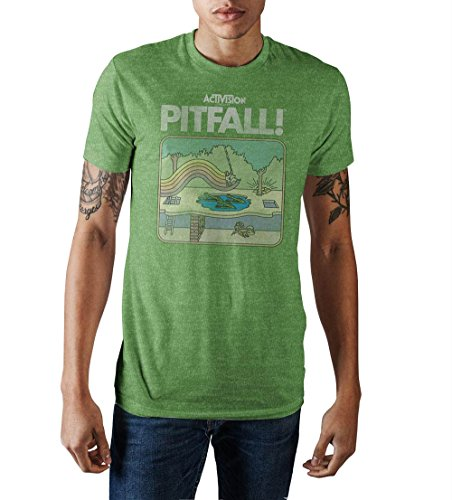 Activision Pitfall Vintage Game Cover Men's Green Heather T-Shirt