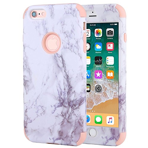 iPhone 6 Plus Case, iPhone 6s Plus Case, Anuck Shockproof Heavy Duty Protective Case for iPhone 6/6s Plus 5.5 inch Anti-scratch Hard Marble Shell Soft Silicone Bumper Hybrid Defender Cover, Rose Gold