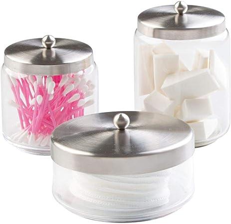 Mdesign Pot En Verre Pour Salle De Bain Lot De 3 Rangement Coton Pour Les Disques