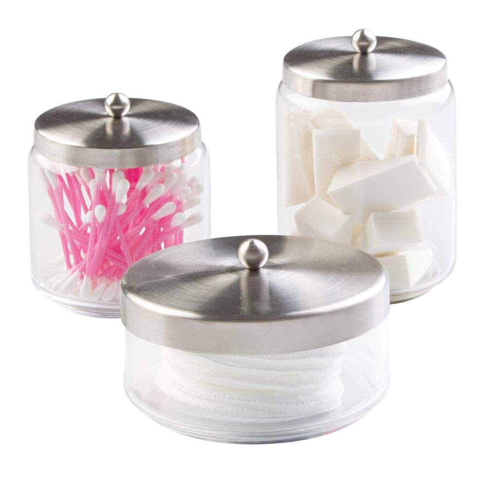 mDesign Bathroom Vanity Glass Apothecary Jars for Cotton Balls, Swabs, Cosmetic Pads - Set of 3, Clear/Brushed Stainless Steel