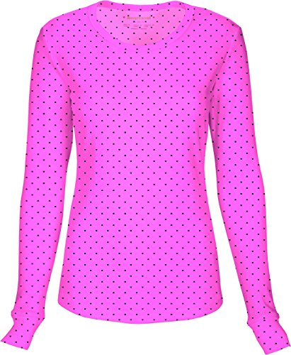 HeartSoul 20801 Junior's Long Sleeve Round Neck Tee Let's Polka Dot Pink Party Large