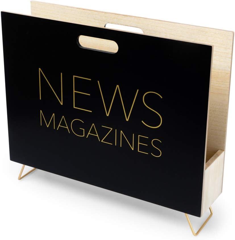 cat/álogos y Diarios con asa Madera DM Balvi Revistero News Color Blanco para revistas