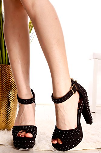 Lolli Couture Rock Style Open Teen Dikke Hak Sandalen Zwart