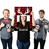 Big Dot of Happiness Prancing Plaid - Christmas & Holiday Buffalo Plaid Party Selfie Photo Booth Picture Frame & Props - Printed on Sturdy Material