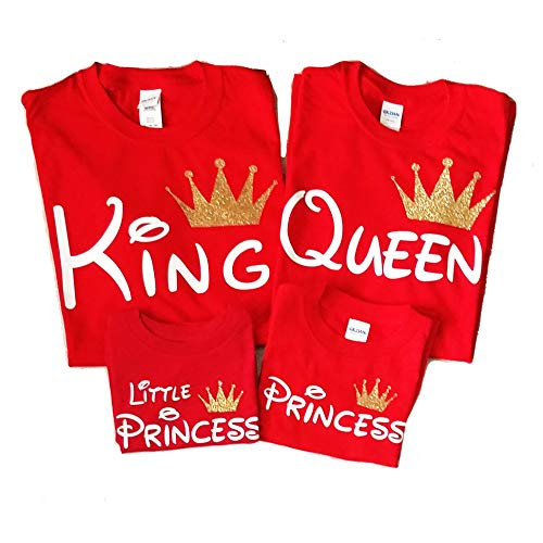 Disney Trip Shirts King and Queen Shirts Prince Princess Outfit Father Mother Daughter Son Matching Shirts (Price per Tshirt) (Princess S Youth, Red)