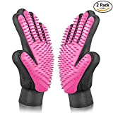 1 Pair Pet Massage Gloves Brush Pet Supplies for Cats Five finger Deshedding Cleaning Tools Massage Brush Silicone Pet Bathing Glove for Dogs 9 x 7 inches Large Size hair grooming by Synkoo Pet (Pink)