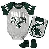 Outerstuff NCAA Michigan State Spartans Newborn & Infant Blitz Bodysuit, Bib & Booties, Heather Grey, 12 Months