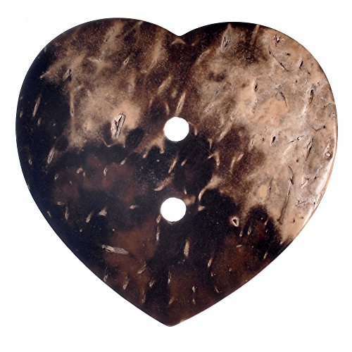 Mibo Real Coconut 2 Hole 35 mm Brown Heart Shape Button 5-Pa