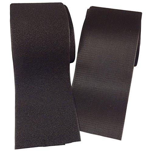 """BlueDot Trading-Hook & Loop Fastener Sew-On Black 4"""" x 6' Precut Packaged"""