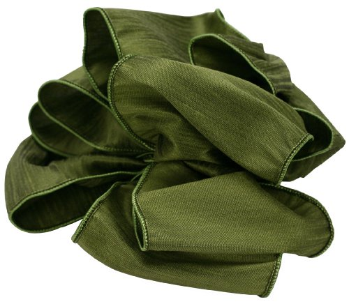 Offray Wired Edge Taj Craft Ribbon, 4-Inch Wide by 10-Yard Spool, Olive - Edge Olive