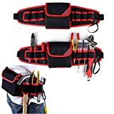 Electricians Tool Belt Pouch Adjustable Waist Bag Waterproof Durable Multi-functional for Screwdriver Tool Holder Rack (Red)