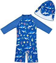 upandfast Baby Boy Swimsuit Sunsuits UPF 50+ Sun Protection Infant One Piece Swimwear Toddler Bathing Suit wit